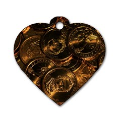 Gold Coins 2 Dog Tag Heart (two Sides) by trendistuff
