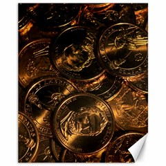 Gold Coins 2 Canvas 11  X 14   by trendistuff