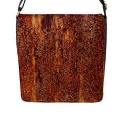 Flaky Rusting Metal Flap Messenger Bag (l)  by trendistuff