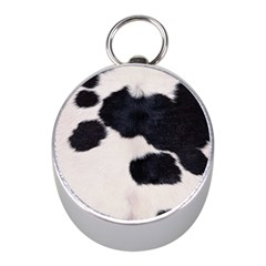 Spotted Cow Hide Mini Silver Compasses by trendistuff
