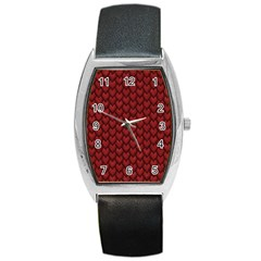 Red Reptile Skin Barrel Metal Watches by trendistuff