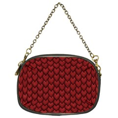 Red Reptile Skin Chain Purses (one Side)  by trendistuff