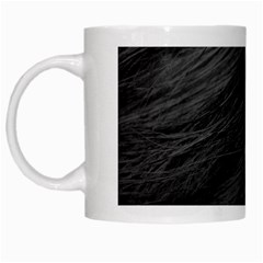 Long Haired Black Cat Fur White Mugs by trendistuff