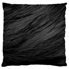 Long Haired Black Cat Fur Large Cushion Cases (one Side)  by trendistuff