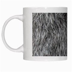 Grey Wolf Fur White Mugs