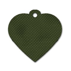 Green Reptile Skin Dog Tag Heart (two Sides) by trendistuff