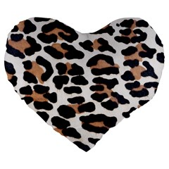 Black And Brown Leopard Large 19  Premium Flano Heart Shape Cushions by trendistuff