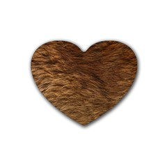 Bear Fur Rubber Coaster (heart)  by trendistuff