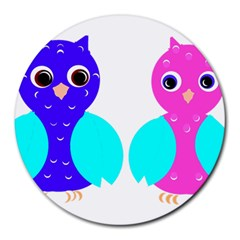 Owl Couple  Round Mousepads by JDDesigns