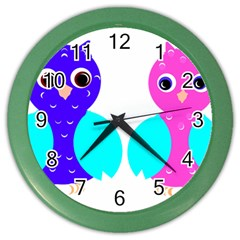 Owl Couple  Color Wall Clocks by JDDesigns
