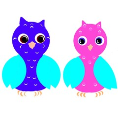 Owl Couple  Birthday Cake 3d Greeting Card (7x5)