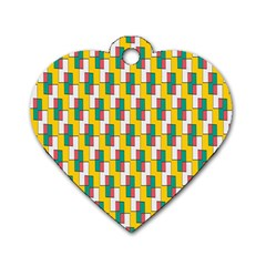 Connected Rectangles Pattern Dog Tag Heart (two Sides) by LalyLauraFLM