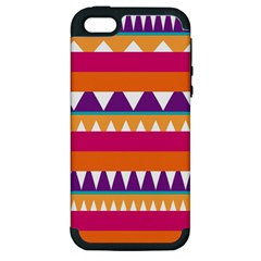 Stripes And Peaks Apple Iphone 5 Hardshell Case (pc+silicone) by LalyLauraFLM