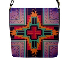 Tribal Star Flap Closure Messenger Bag (l) by LalyLauraFLM