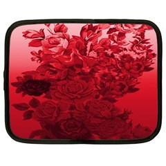 Red Tinted Roses Collage 2 Netbook Case (xl)  by LovelyDesigns4U