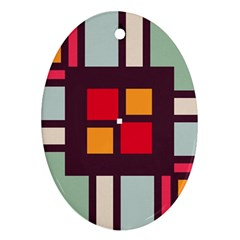 Squares And Stripes  Ornament (oval) by LalyLauraFLM