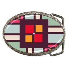 Squares And Stripes  Belt Buckle by LalyLauraFLM