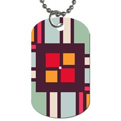 Squares And Stripes  Dog Tag (one Side) by LalyLauraFLM