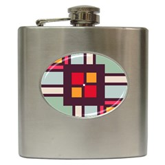 Squares And Stripes  Hip Flask (6 Oz) by LalyLauraFLM