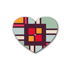 Squares And Stripes  Heart Coaster (4 Pack) by LalyLauraFLM
