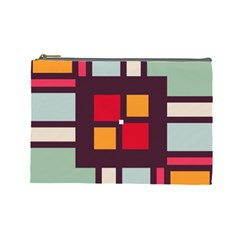 Squares And Stripes  Cosmetic Bag (large) by LalyLauraFLM