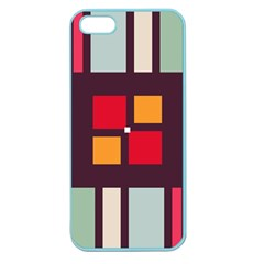 Squares And Stripes  Apple Seamless Iphone 5 Case (color) by LalyLauraFLM