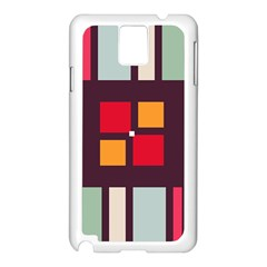Squares And Stripes  Samsung Galaxy Note 3 N9005 Case (white) by LalyLauraFLM
