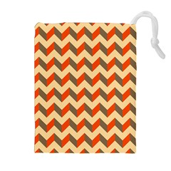 Modern Retro Chevron Patchwork Pattern  Drawstring Pouches (extra Large) by creativemom