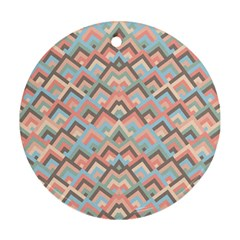 Trendy Chic Modern Chevron Pattern Round Ornament (two Sides)  by creativemom
