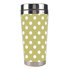 Lime Green Polka Dots Stainless Steel Travel Tumblers by creativemom