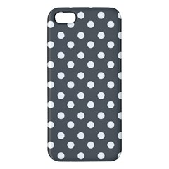 Gray Polka Dots Apple Iphone 5 Premium Hardshell Case by creativemom