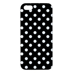 Black And White Polka Dots Apple Iphone 5 Premium Hardshell Case by creativemom