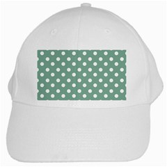 Mint Green Polka Dots White Cap by creativemom