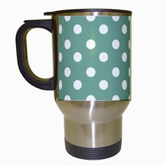 Mint Green Polka Dots Travel Mugs (white) by creativemom