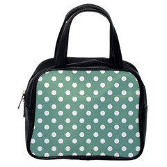 Mint Green Polka Dots Classic Handbags (one Side) by creativemom