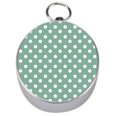 Mint Green Polka Dots Silver Compasses by creativemom