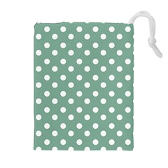 Mint Green Polka Dots Drawstring Pouches (extra Large) by creativemom