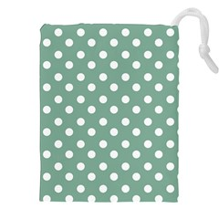 Mint Green Polka Dots Drawstring Pouches (xxl)