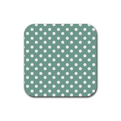 Mint Green Polka Dots Rubber Square Coaster (4 Pack)  by creativemom