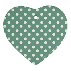 Mint Green Polka Dots Heart Ornament (2 Sides) by creativemom