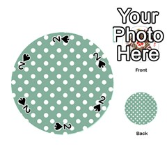 Mint Green Polka Dots Playing Cards 54 (round)  by creativemom