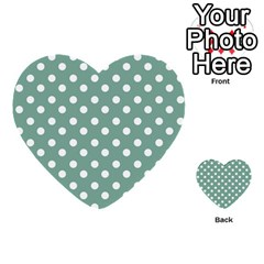Mint Green Polka Dots Multi Purpose Cards (heart)  by creativemom