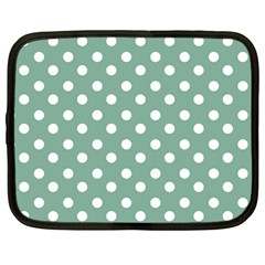 Mint Green Polka Dots Netbook Case (large) by creativemom