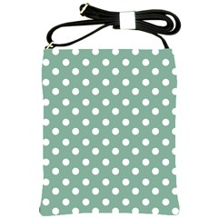 Mint Green Polka Dots Shoulder Sling Bags by creativemom