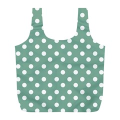 Mint Green Polka Dots Full Print Recycle Bags (l)  by creativemom