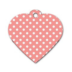 Coral And White Polka Dots Dog Tag Heart (one Side) by creativemom