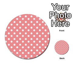 Coral And White Polka Dots Multi Purpose Cards (round)  by creativemom