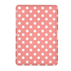 Coral And White Polka Dots Samsung Galaxy Tab 2 (10 1 ) P5100 Hardshell Case
