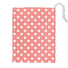Coral And White Polka Dots Drawstring Pouches (xxl)