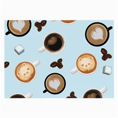 Cute Coffee Pattern On Light Blue Background Large Glasses Cloth by LovelyDesigns4U